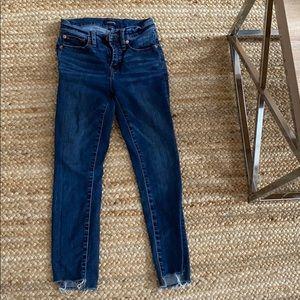 "JCrew 9"" high rise toothpick jeans w step hem"